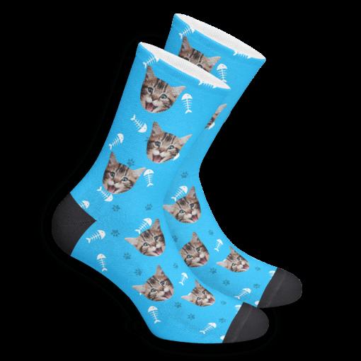 Носки с собственным принтом кота синие