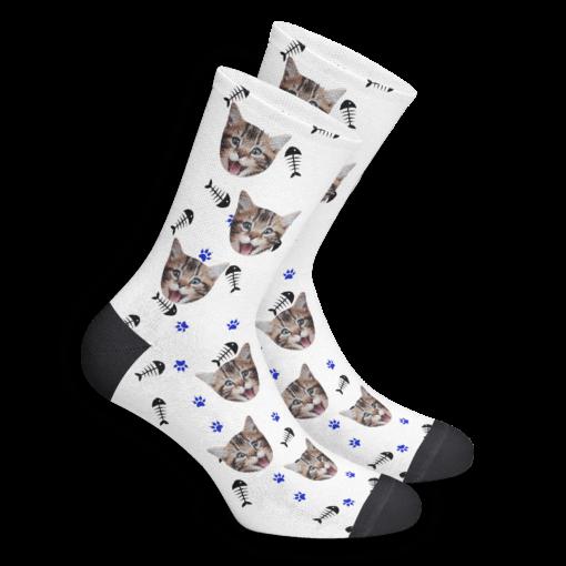 Носки с котом белые