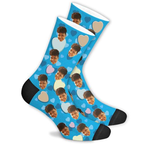 Романтические носки синие