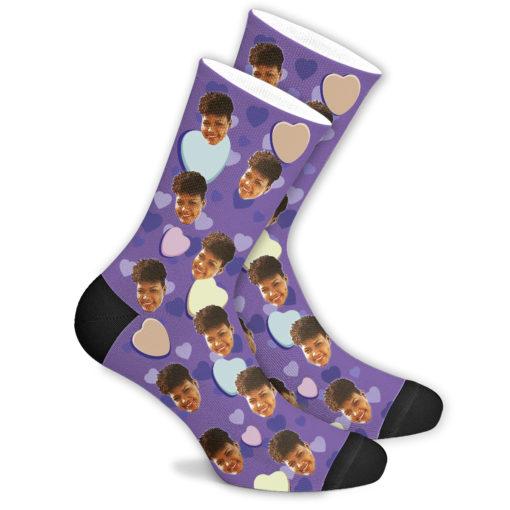 Романтические носки фиолетовые